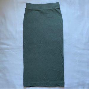 3/20$ H&M Green Ribbed Pencil Skirt XS